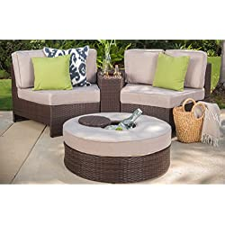 Riviera Positano Outdoor Patio Furniture Wicker 4 Piece Semicircular Sectional Sofa Seating Set w/ Waterproof Cushions (Ice Bucket Ottoman, Beige)