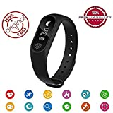 Eyuvaa M2 Smart Bracelet / Fitband / fitness Band with Heart Rate Monitor OLED Display Bluetooth 4.0 Waterproof Sports Health Activity Fitness Tracker Bluetooth Wristband Pedometer Sleep Monitor Waterproof Smart Bracelet Support Pedometer / Sleep Monitoring / Call Reminder / Clock / Remote camera / Anti-lost Function /OLED Display / Compatible with all Android, Samsung, iPhone , Lenovo, XIOMI, REDMI Oppo, VIVO, Motorola,IOS, Windows with activity trackers and fitness band features (BLACK)