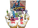 Superman Deluxe Cake Toppers Cupcake Decorations Set of 13 Figures with Supergirl, Clark Kent, Jimmy Olsen, Doomsday. Lex Luthor and Many More!
