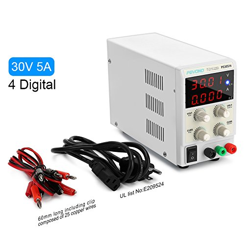 DC Bench Power Supply Variable, Pevono PS305H 0-30V/0-5A 4 Digital LCD Display High Voltage&Current Adjustable Switching Regulated Power Supply with US Power Cord For Lab Equipment,Research and DIYer