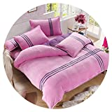 Heart to hear-pillowcase-and-sheet-sets Winter Warm Striped Quilt Cover Coral Velvet Sports Duvet Cover Set Queen King Size Bedding Set,11,King