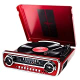 ION Record Player Turn Table 1965 Classic Car-Styled Ford Master Design Mustang LP 4-in-1 Music Center with Built-In Speakers (Red) (Renewed)