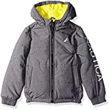 Nautica Boys' Little Water Resistant Signature Bubble Jacket with Storm Cuffs, Austin Coal Heather, Small (4)