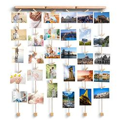 Love-KANKEI Wall Hanging Picture Frames 26 x 29inch with 30 Wooden Clips Wire Artworks Prints Cards Holder Organizer Collage Multi Picture Photo Display Picture Frame