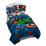 Marvel Avengers Good Guys Twin/Full Comforter - Super Soft Kids Reversible Bedding features Iron Man, Hulk, Captain America, and Spiderman - Fade Resistant Polyester (Official Marvel Product)