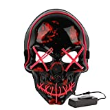Halloween Costume Festival Parties Scary Mask LED Light Up Masks (Skull Pink)