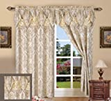 Elegance Linen Luxury Jacquard Curtain Panel Set with Attached Valance 55' X 84 inch (Set of 2), Beige