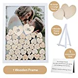 GLM Wedding Guest Book Alternative with Drop Top Wooden Hearts and Instruction Card for Great Wedding Decorations Guest Book Alternatives with Stand as Modern or Rustic Wedding Decorations