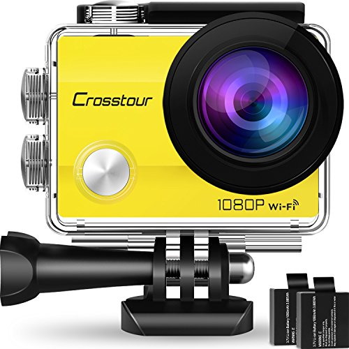 Crosstour Action Camera Underwater Cam WiFi 1080P Full HD 12MP Waterproof 30m 2' LCD 170 Degree Wide-Angle Sports Camera with 2 Rechargeable 1050mAh Batteries and Mounting Accessory Kits (Yellow)