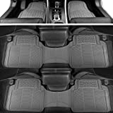 BDK 783-3Row ProLiner Original Heavy Duty 4pc Front & Rear Rubber Floor Mats for Car SUV Van (for 3 Row Vehicles) - All Weather Protection Universal Fit (Gray)
