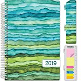 HARDCOVER Calendar Year 2019 Planner: (November 2018 Through December 2019) 5.5'x8' Daily Weekly Monthly Planner Yearly Agenda. Bonus Bookmark, Pocket Folder and Sticky Note Set (Green Waves)