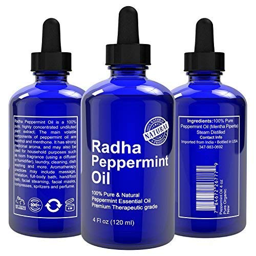 Peppermint Essential Oil - Big 4 oz - 100% Pure & Natural Mentha Peperita Therapeutic Grade - Premium Quality Oil for fresh scent at home & to repel Mice & Spiders