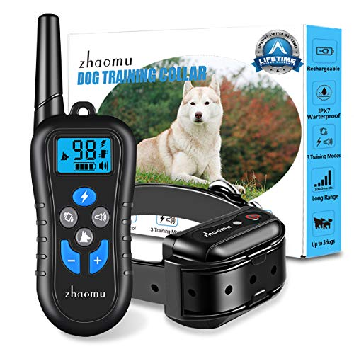 zhaomu Dog Training Collar 1000yard Remote Range Dog Shock Collar with Tone/Vibration/Static Shock,Rechargeable E-Collar 100% DEEP Waterproof Adjustable Shock Collars for Small/Medium/Large Dogs 1