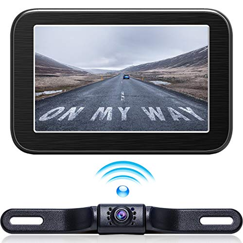 Wireless Backup Camera with Monitor System 5'' LCD Wireless Monitor Rearview Revering Rear View Back up Camera for Backing Parking Small Car 12V Only E5 eRapta