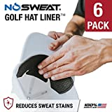 No Sweat Golf Hat Liner & Cap Protection - Prevent Hat Stains Rings, Moisture Wicking, Headband, Sweatband, Hat Saver & Protection, Prevention, Cooling Towel Effect (6-Pack)