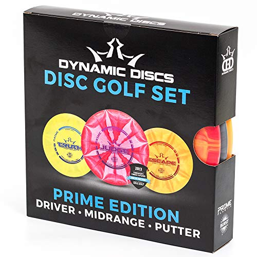 Dynamic Discs Prime Disc Golf Starter Set - Distance Driver, Midrange Driver and Putter All in Prime Plastic with Extra Grip for Beginners