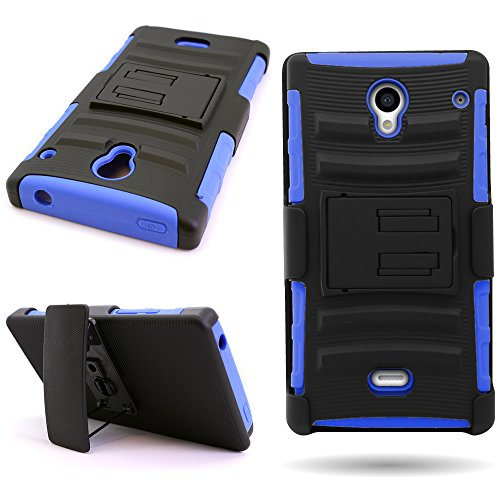 Sharp Aquos Crystal Case with Holster (Blue/Black) CoverON Protective Hybrid Belt Clip Phone Cover for Sharp Aquos Crystal 306SH