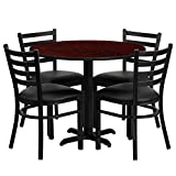 StarSun Depot 36' Round Mahogany Laminate Table Set with X-Base and 4 Ladder Back Metal Chairs - Black Vinyl Seat 36' W x 36' D x 30' H