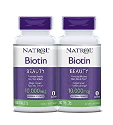 Natrol Biotin Beauty Tablets, Promotes Healthy Hair, Skin and Nails, Helps Support Energy Metabolism, Helps Convert Food Into Energy, Maximum Strength, 10,000mcg, 100 Count (Pack of 2)  Image