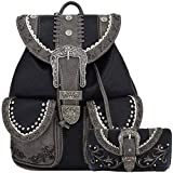 Western Style Tooled Buckle Women Country Backpack School Bag Concealed Carry Daypack Biker Purse Wallet (Black Set)