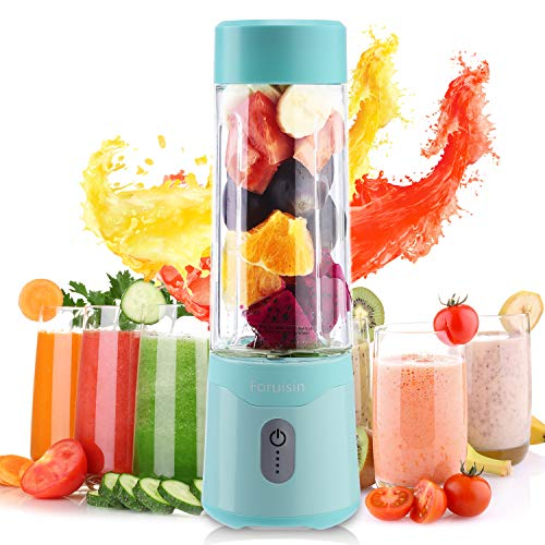 Portable Personal Blender USB Rchargeable juicer faster fruit shake and Smoothies mixer with Charging head and line Six blades 500ml 4000mAh (cyan)