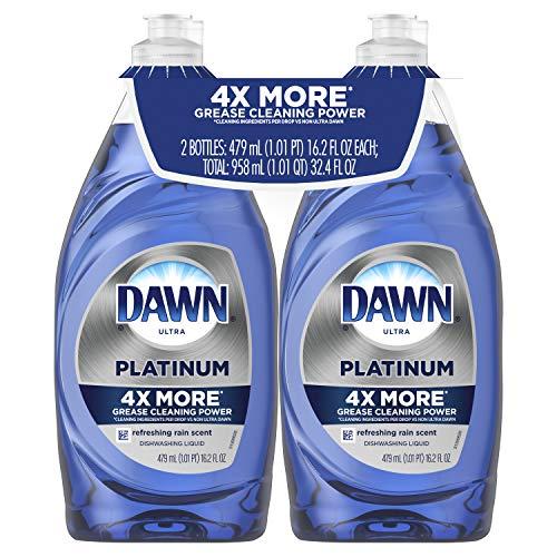 Dawn Platinum Dishwashing Liquid Dish Soap Refreshing Rain 2×16.2 oz (Packaging May Vary)
