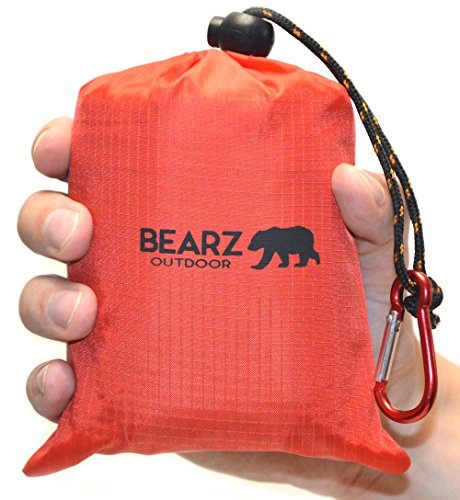BEARZ Outdoor Beach Blanket / Compact Pocket Blanket 55″x60″, Waterproof Ground Cover / Sand Proof Picnic Mat for Travel, Hiking, Camping, Festivals - Durable Tarp w/ Corner Pockets, Loops & Bag (Red)