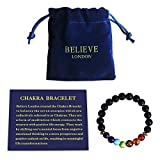 Believe London Chakra Bracelet with Jewelry Bag & Meaning Card   Adjustable Bracelet to Fit Any Wrist   7 Chakra Natural Stone   Healing Reiki Yoga (6.5 Inch Bracelet)