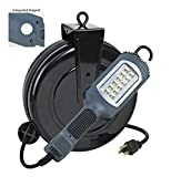 Alert Stamping LED Cord Reel Shop Garage Work Light 1000 Lumens 5030AHS, Gray