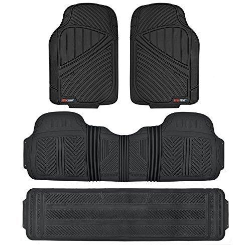 Motor Trend MT-773-801-BK 3 Rows FlexTough Series Rubber Floor Mats & Liners for Car SUV Van-Heavy Duty Full Interior-Black