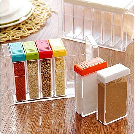 51UN8wB3sfL - Machak Spice Jar 6 Pcs Set, Easy Flow Storage, Idle for Kitchen- Storage Box Container (Color May Vary)