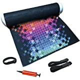 Tunery Puzzle Roll Up Mat - Puzzle Storage and Jigsaw Puzzle Mat Roll Up to 1500 Pieces, Inflatable Tube, and 3 Elastic Fasteners, Mini Pump, 46' x 26' Felt Mat
