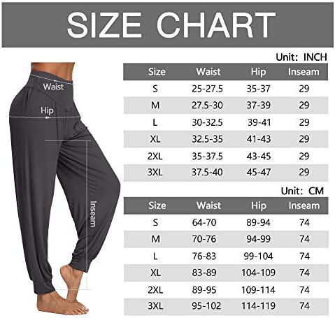 PACBREEZE Women's Harem Yoga Lounge Pants Soft Loose Dance Pilates Workout Pants 7