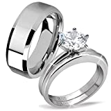 His Hers 3 Pcs Stainless Steel Men's Band Women Simulate Diamond Cubic Zirconia Round Cut Wedding Engagement Ring Set