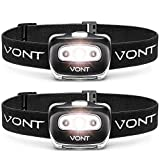 Vont Spark LED Headlamp Flashlight (2 PACK) Super Bright Head Lamp Suitable for Running, Camping, Hiking, Climbing, Fishing, Hunting, Jogging, Headlight Includes Red Light, Headlamps for Adults & Kids