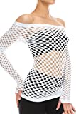 Kurve Women's Sexy Fishnet Top - Stretchy See Through Long Sleeve Layer Mesh Shirt Night Out Party Clubwear Cover Up White