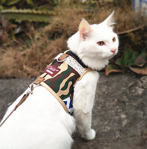Escape Proof Cat Harness with Leash, Adjustable Cat Walking Jackets, Padded Cat Vest 1