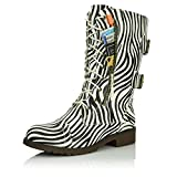 DailyShoes Women's Military Lace Up Buckle Combat Boots Mid Knee High Exclusive Credit Card Pocket, Mighty Zebra, 9 B(M) US