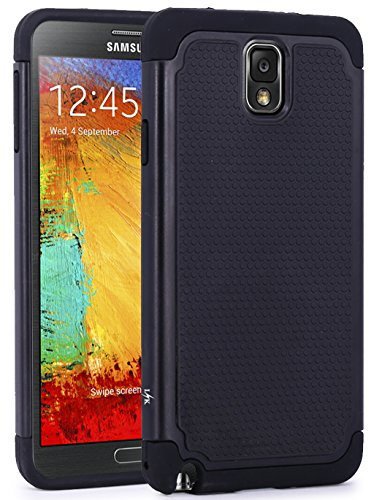 LK Case for Note 3, [Drop Protection] [Shock-Absorption] Hybrid Dual Layer Armor Defender Protective Case Cover for Samsung Galaxy Note 3 (Black)