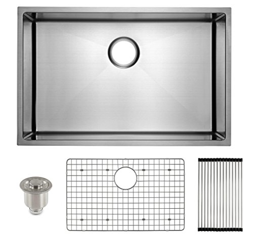 "FRIGIDAIRE Undermount Stainless Steel Kitchen Sink, 16 Gauge, Deep Basin, 27"", For 30"" to 36"" Sink Cabinet"
