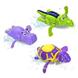 Pool Wind Up Bath Toys Animals Turtle Hippo Crocodile Swimming Tub Bathtub Playset Clockwork Play