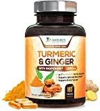 Turmeric Curcumin with Ginger 95% Curcuminoids 1950mg with Bioperine Black Pepper for Best Absorption, Anti-Inflammatory Joint Relief, Turmeric Supplement Pills by Natures Nutrition - 180 Capsules