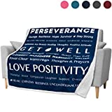 PAVILIA Healing Thoughts Blanket, Sherpa Throw for Women, Men   Super Soft, Fluffy, Plush Microfiber Prayer Blanket   Get Well Gift, Cancer Blanket for Family, Friends   50 x 60 inches (Navy)