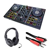 Numark Party Mix DJ Controller with Built-In Sound Card & Light Show, and DJ Software & Samson SR350 Headphones + Stereo Interconnect Cable