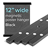 12' Wide Magnetic Poster Frame Hanger in Black - Solid Wood and Magnets Strong Enough to Hang Any Length