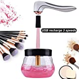 Sumlife Electric Makeup Brush Cleaner and Dryer Machine USB Rechargeable with 3 Speeds Automatic Clean and Dry in Seconds for All Makeup Brushes, Upgraded Version - White