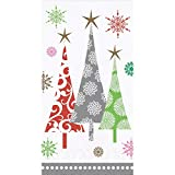 Creative Converting Christmas Hand Towels for Bathroom, Christmas Bathroom Decor, Disposable Paper Guest Towels, Christmas Party Contemporary Trees 4.5' x 8' PK 32