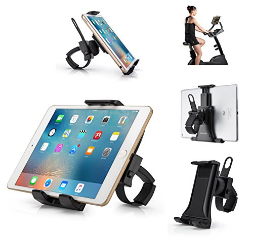 AboveTEK All-In-One Cycling Bike iPad/iPhone Mount, Portable Compact Tablet Holder for Indoor Gym Handlebar on Exercise Bikes & Treadmills, Adjustable 360° Swivel Stand For 3.5-12' Tablets/Cell Phones