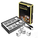 Kollea Stainless Steel Pack of 8 Reusable Ice Cubes Chilling Stones with Tongs & Freezer Storage Tray for Whiskey Wine