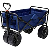Folding Beach Wagon All Terrain Collapsible Cart Foldable Sports Dolly Gear Storage Mac Cart with Cooling Towel (Blue/Black)